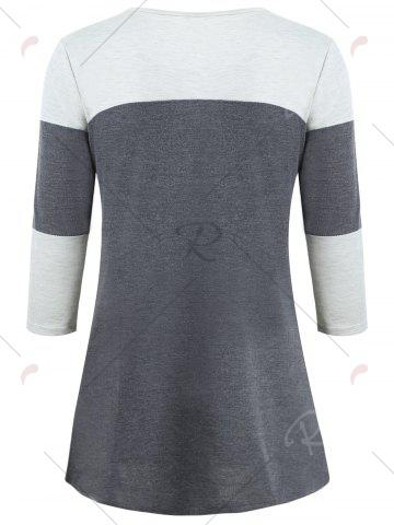 Shops Color Block Pocket Tunic T-shirt - S GRAY Mobile
