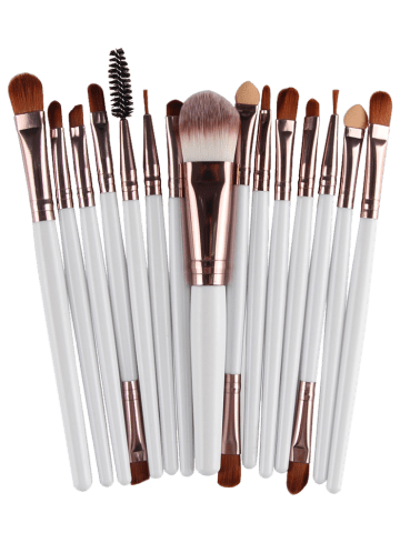 Outfits Stylish Multifunction 15 Pcs Plastic Handle Nylon Makeup Brushes Set - WHITE AND BROWN  Mobile