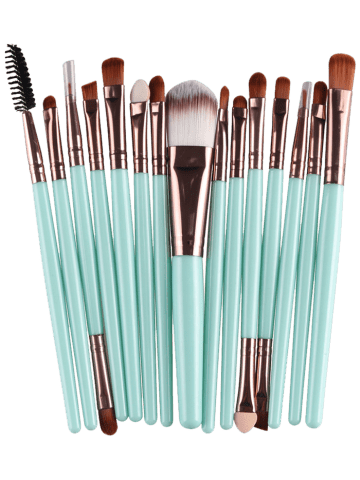 Shops Stylish Multifunction 15 Pcs Plastic Handle Nylon Makeup Brushes Set - GREEN + BROWN  Mobile