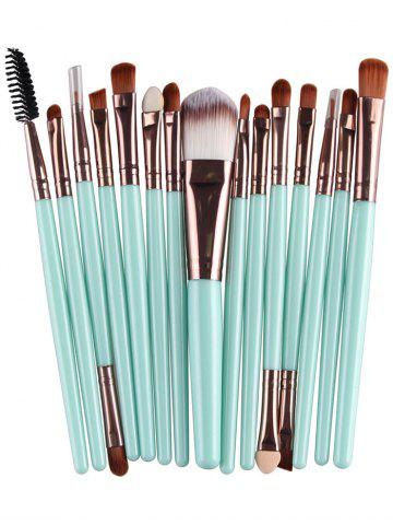 Best Stylish Multifunction 15 Pcs Plastic Handle Nylon Makeup Brushes Set - GREEN + BROWN  Mobile