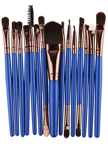 Trendy Stylish Multifunction 15 Pcs Plastic Handle Nylon Makeup Brushes Set - BLUE AND BROWN  Mobile