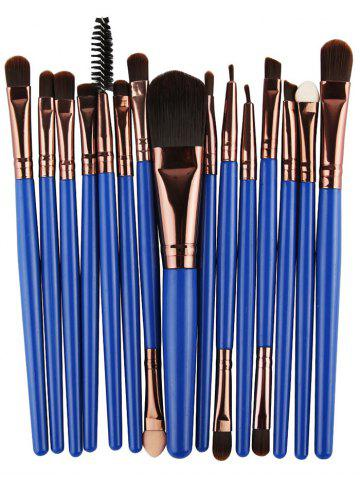 New Stylish Multifunction 15 Pcs Plastic Handle Nylon Makeup Brushes Set - BLUE AND BROWN  Mobile