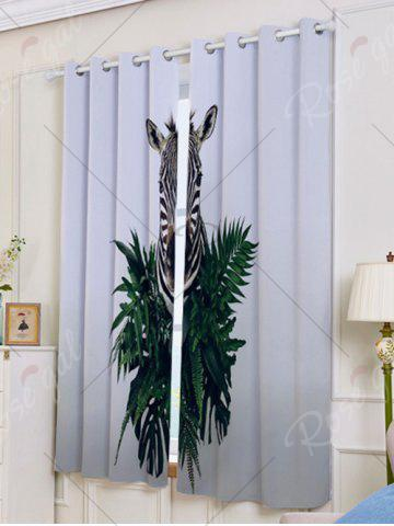 Outfit 2Pcs Zebra Pattern Lightproof Window Curtains - W53 INCH * L63 INCH GRAY Mobile