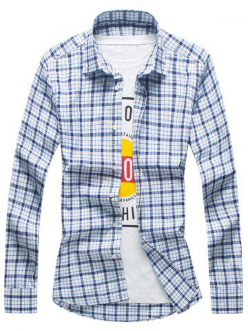 Best Long Sleeve Tartan Button Down Shirt - L CHECKED Mobile