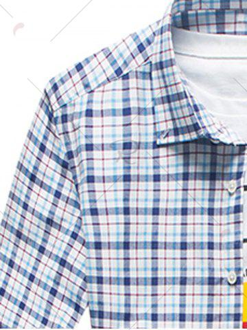 Online Long Sleeve Plaid Button Down Shirt - L CHECKED Mobile