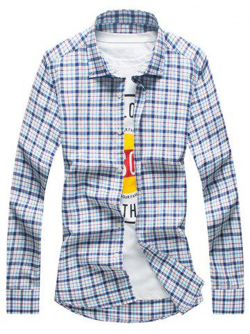 Outfit Long Sleeve Plaid Button Down Shirt - L CHECKED Mobile