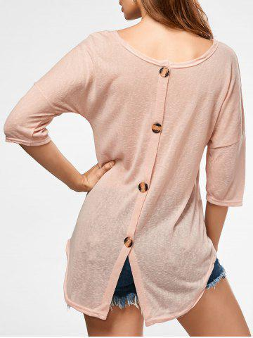 Outfit Back Button Sheer Tunic Knitwear - XL APRICOT Mobile