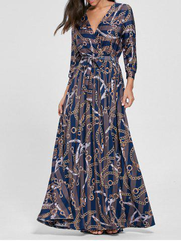 Plunging Neck Chain Print Rayé Surplice Maxi Dress Bleu S