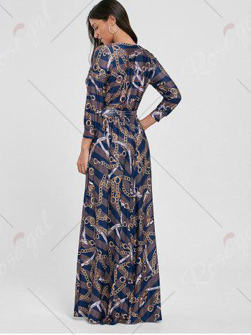 Trendy Plunging Neck Chain Print Striped Surplice Maxi Dress - S BLUE Mobile