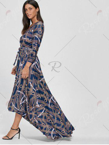 New Plunging Neck Chain Print Striped Surplice Maxi Dress - S BLUE Mobile