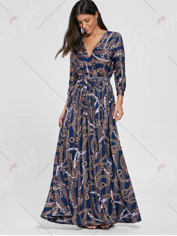 Shops Plunging Neck Chain Print Striped Surplice Maxi Dress - S BLUE Mobile