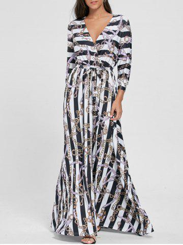 Cheap Plunging Neck Chain Print Striped Surplice Maxi Dress WHITE XL