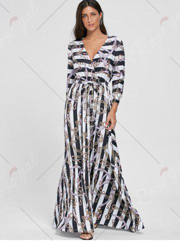 Outfits Plunging Neck Chain Print Striped Surplice Maxi Dress - XL WHITE Mobile