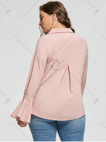 Discount Plus Size Button Up Long Sleeve Shirt - 5XL PINKBEIGE Mobile