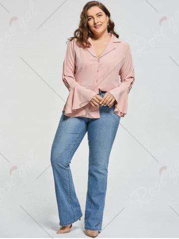 Affordable Plus Size Button Up Long Sleeve Shirt - 5XL PINKBEIGE Mobile