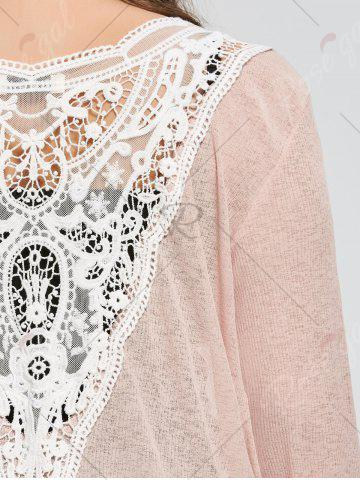 Latest Plus Size Back Lace Crochet  Collarless Ribbed Cardigan - 5XL APRICOT Mobile