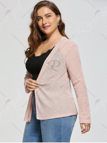 Sale Plus Size Back Lace Crochet  Collarless Ribbed Cardigan - 5XL APRICOT Mobile