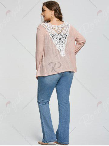 Online Plus Size Back Lace Crochet  Collarless Ribbed Cardigan - 5XL APRICOT Mobile