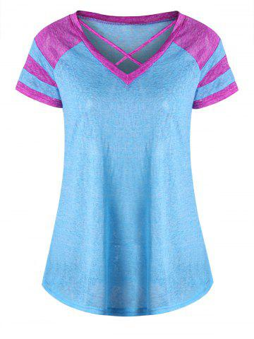 Lattice Neck Two Tone Top - Lake Blue - 2xl