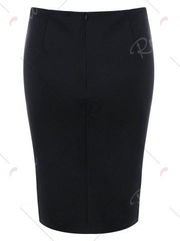 Trendy Lace Up Tight Skirt - M BLACK Mobile