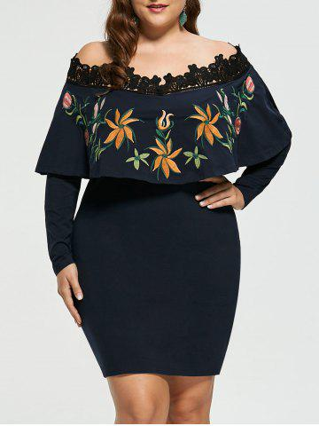 Off Shoulder Plus Size Embroidery Bodycon Dress - Colormix - 5xl