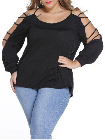 Ripped Sleeve Scoop Neck Plus Size Top - Black - 4xl