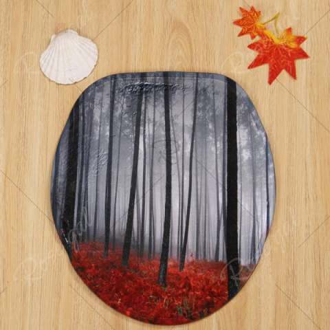 Online 3PCS Foggy Forest Toilet Lid Cover and Floor Mat Set - SMOKY GRAY  Mobile
