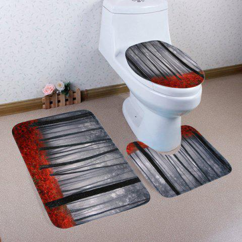 Fashion 3PCS Foggy Forest Toilet Lid Cover and Floor Mat Set SMOKY GRAY