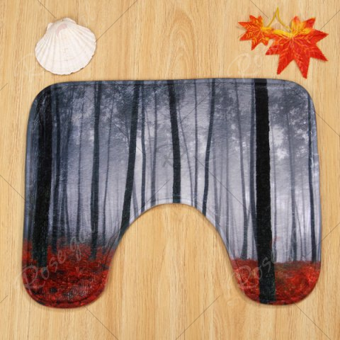 Sale 3PCS Foggy Forest Toilet Lid Cover and Floor Mat Set - SMOKY GRAY  Mobile