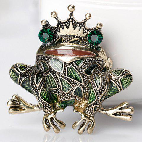 Unique Faux Gem Inlaid Engraved Frog King Brooch - GREEN  Mobile