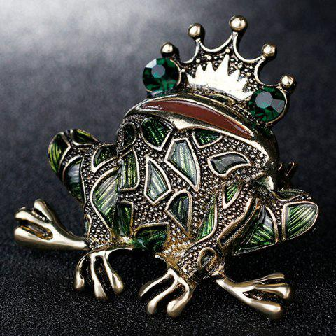 Fashion Faux Gem Inlaid Engraved Frog King Brooch - GREEN  Mobile