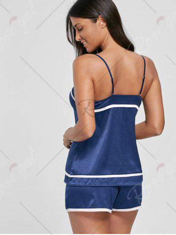 New Satin Cami Sleepwear Set - ONE SIZE DEEP BLUE Mobile