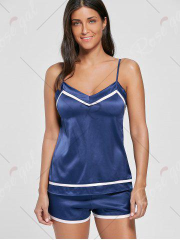 Fashion Satin Cami Sleepwear Set - ONE SIZE DEEP BLUE Mobile
