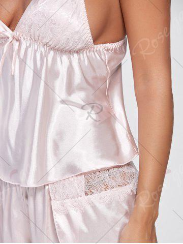 Buy Cami Lace Insert Satin Pajamas Set - ONE SIZE LIGHT PINK Mobile