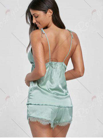 Outfit Lace Panel Cami Satin PJ Set - ONE SIZE LIGHT GREEN Mobile