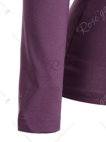 Best Ruched Empire Waist Long Sleeve T-shirt - S PURPLE Mobile