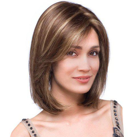 Affordable Short Side Part Highlight Straight Colormix Bob Synthetic Wig BROWN 36CM