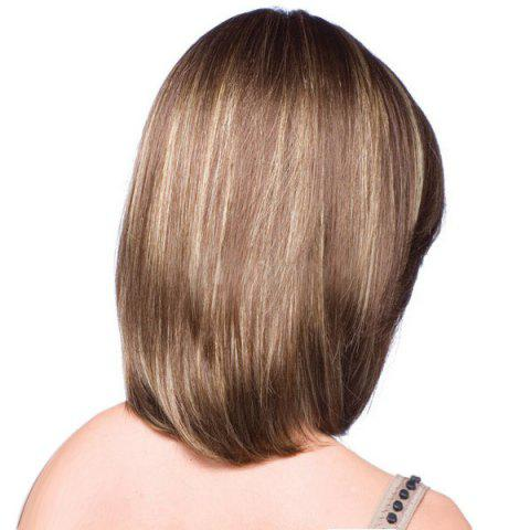 Trendy Short Side Part Highlight Straight Colormix Bob Synthetic Wig - 36CM BROWN Mobile