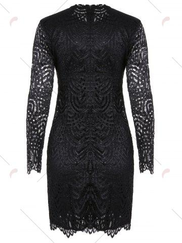 Chic Long Sleeve Crew Neck Lace Bodycon Dress - M BLACK Mobile