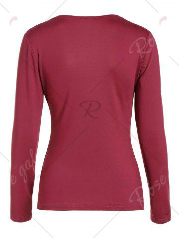 Buy Ruched Empire Waist Long Sleeve T-shirt - XL RED Mobile