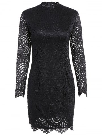 New Long Sleeve Crew Neck Lace Bodycon Dress - L BLACK Mobile