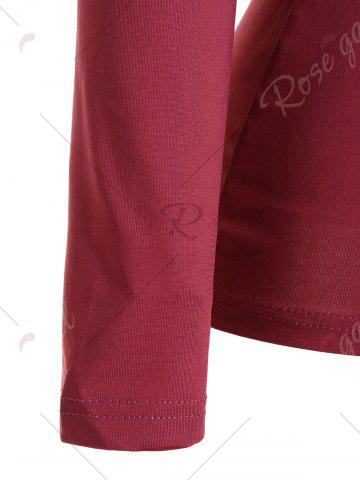 Chic Ruched Empire Waist Long Sleeve T-shirt - XL RED Mobile