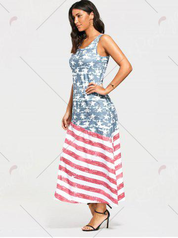 Discount Damage American Flag Print Maxi Tank Dress - S COLORMIX Mobile