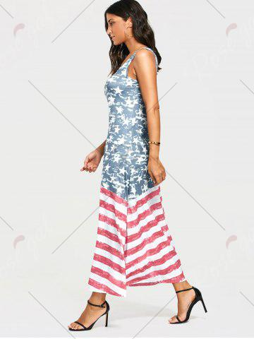 Affordable Damage American Flag Print Maxi Tank Dress - S COLORMIX Mobile