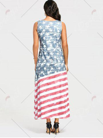 Fancy Damage American Flag Print Maxi Tank Dress - S COLORMIX Mobile