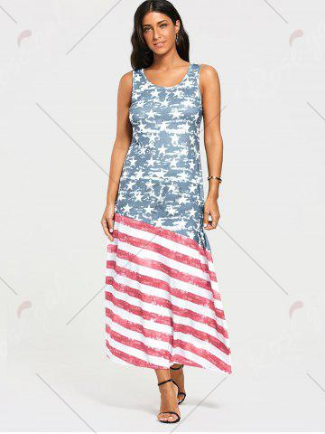 Best Damage American Flag Print Maxi Tank Dress - S COLORMIX Mobile