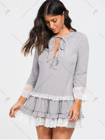 Best Lace Trim Three Quarter Sleeve Tunic Dress - S LIGHT GRAY Mobile