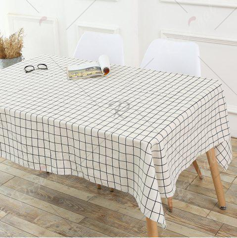 Online Plaids Patterned Kitchen Decor Tablecloth - W55 INCH * L71 INCH WHITE Mobile
