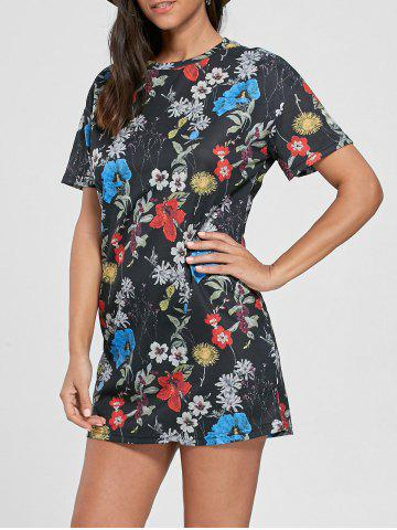 New Flower Printed Shift Mini Dress - S COLORMIX Mobile