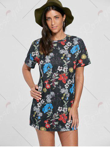Store Flower Printed Shift Mini Dress - S COLORMIX Mobile